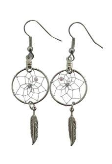 Deamcatcher Earrings With Metal Feather Accent